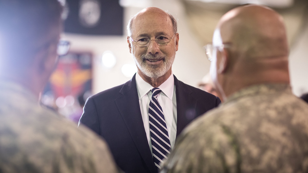 Governor Wolf chats with two members of the PA National Guard