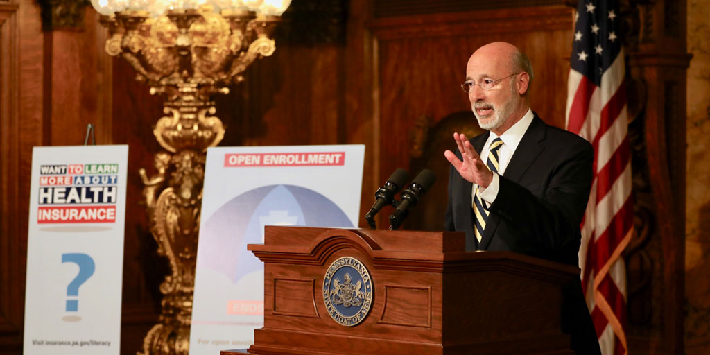 Governor Wolf Speaks at Podium.