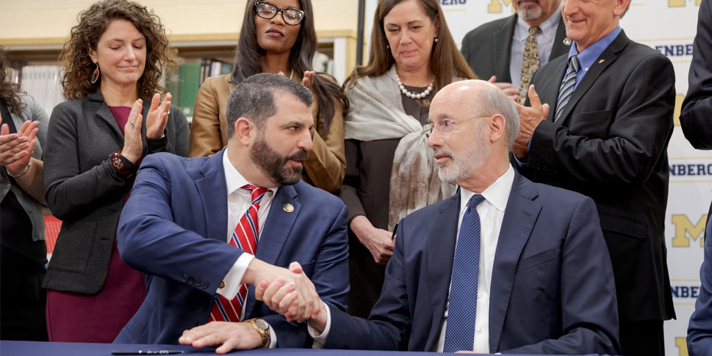 Governor Wolf shakes hands with Rep. Mark Rozzi