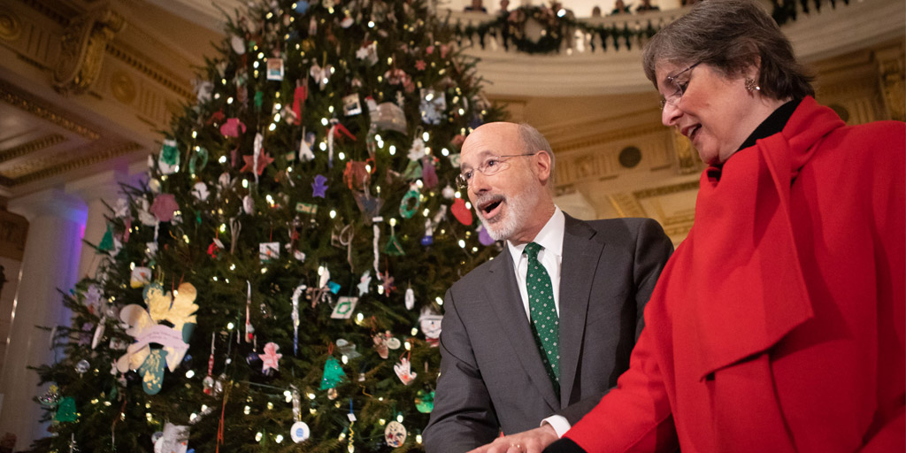 Governor Wolf and First Lady Frances Wolf light the Capitol Christmas Tree