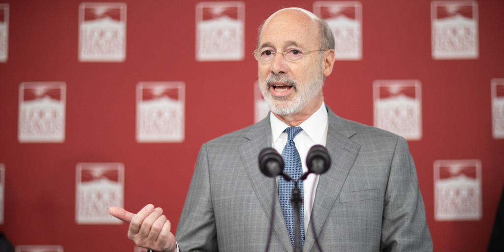 Governor Wolf speaking at Lock Haven University