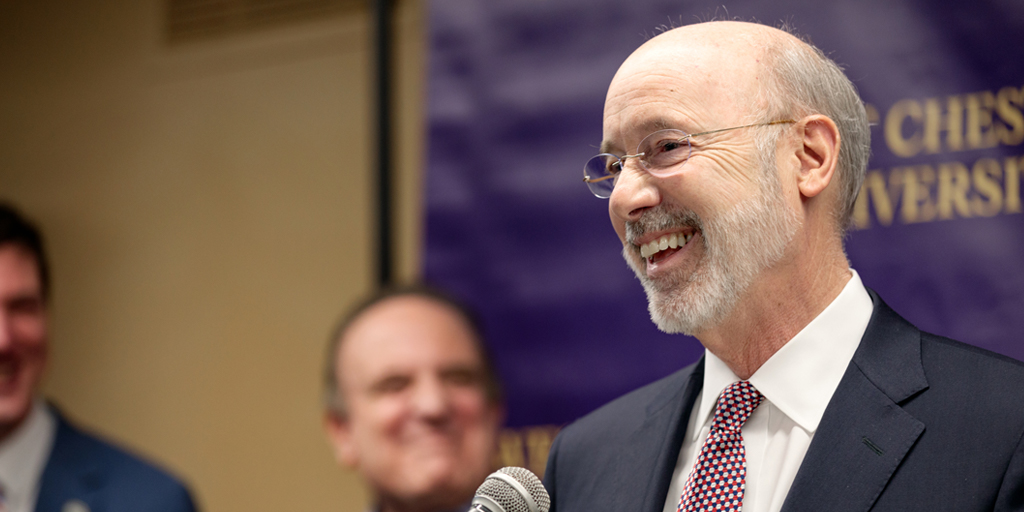 Governor Tom Wolf speaking at West Chester