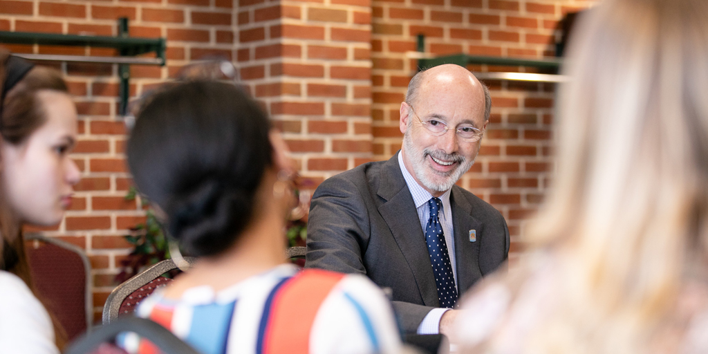 Governor Wolf speaking with students