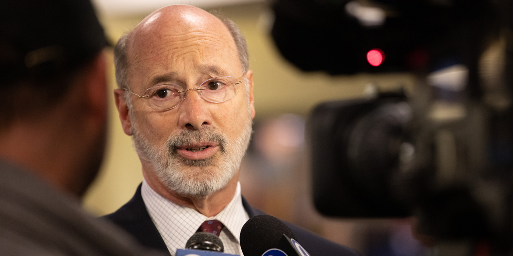 Governor Wolf speaking on camera