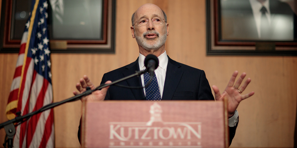 Governor Wolf speaking at a podium