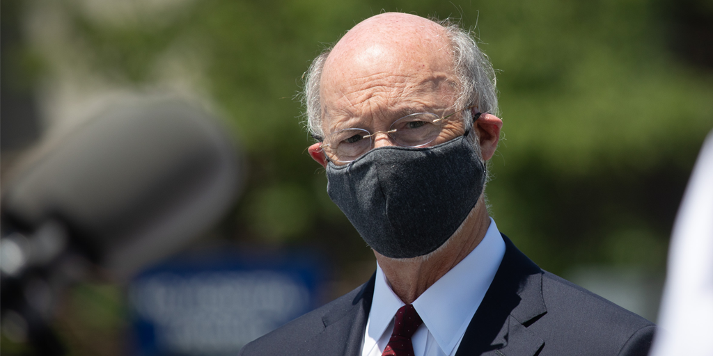 Governor Tom Wolf wearing a mask outside