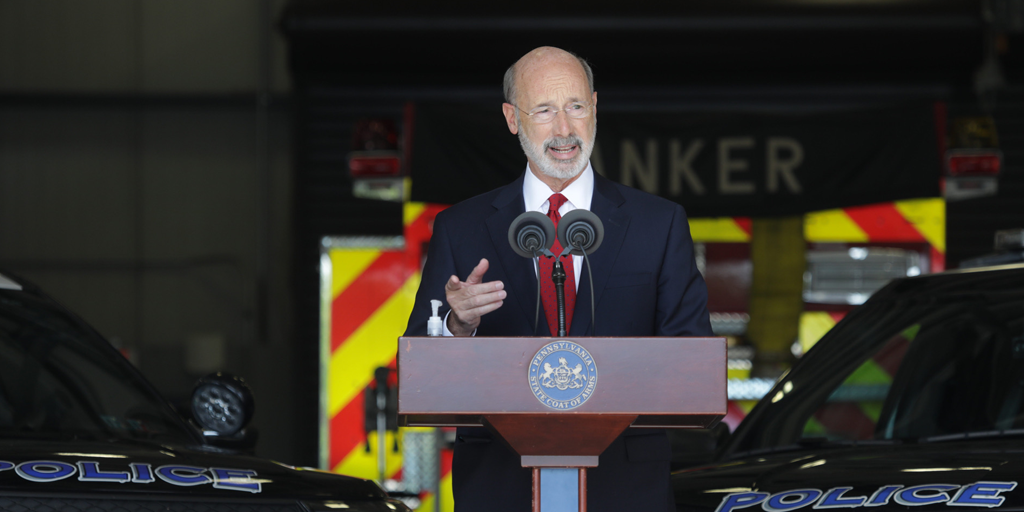 Gov Wolf visiting the susquehanna police department