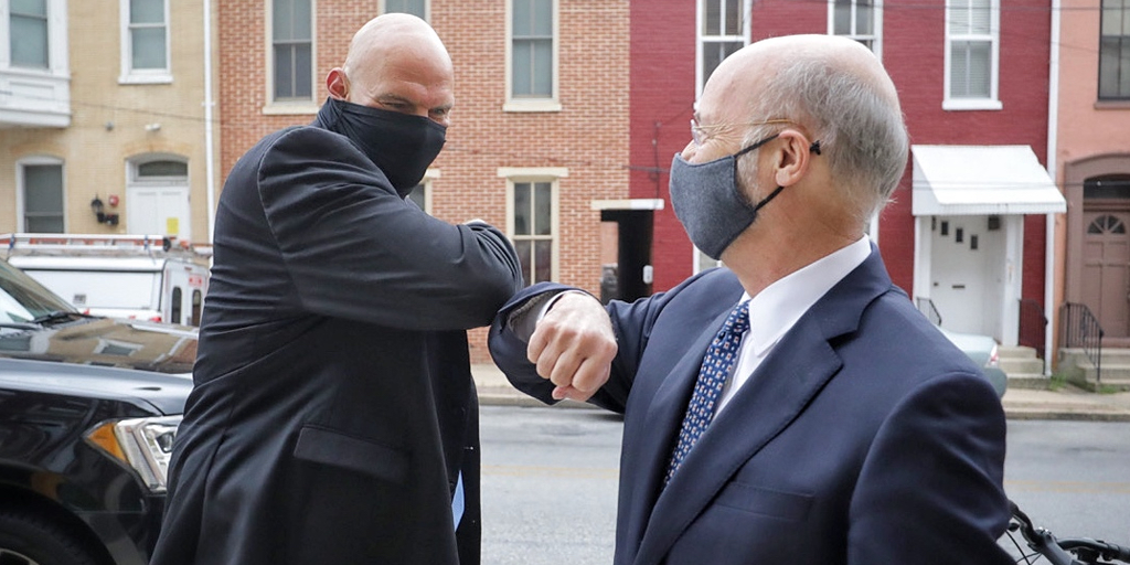 Gov. Wolf Lt Fetterman wearing masks