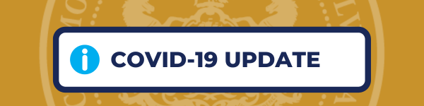 "Gold background with the text ""COVID-19 UPDATE"""