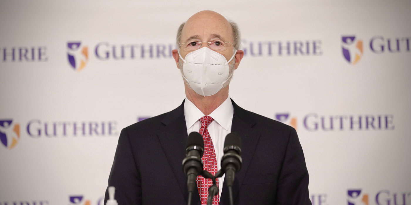 Governor Tom Wolf at a Guthrie vaccination clinic
